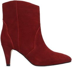 High Heels Ankle Boots In Bordeaux Suede