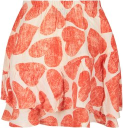 Ivory Skirt With Red Hearts For Girl
