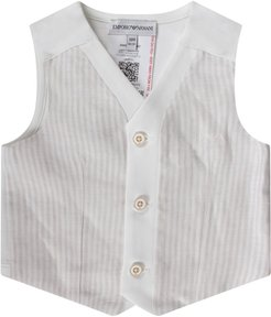 Biege And White Babyboy Vest With Iconic Eagle