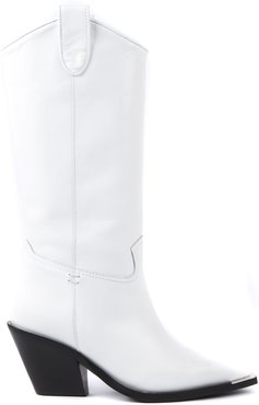 White Diva Leather Boots