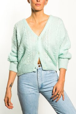 Vintage Spearmint Cropped Cardigan