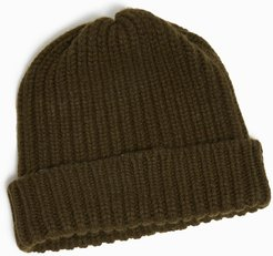 Wool/Cashmere Ribbed Beanie in Seaweed