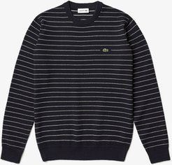 Long Sleeve Striped Waffle Crew Sweater in Navy