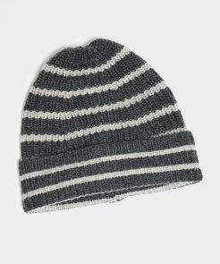 Lambswool Stripe Beanie in Grey