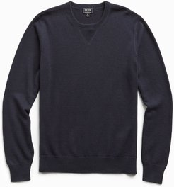 Cotton Cashmere Sweater in Navy