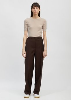 Acne Studios Paminne Wool and Mohair Pants Chocolate Brown Size: 34