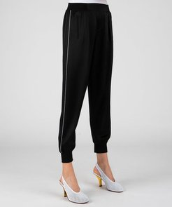 Hammered Silk Pull-On Pants - Black