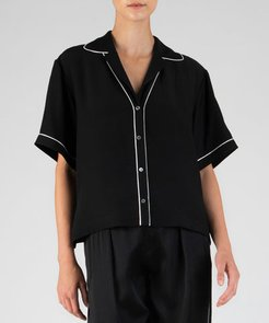 Hammered Silk Short Sleeve Cropped Shirt - Black