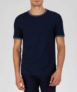 Tipped Pique Crew Neck Tee - Midnight Combo