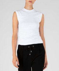 Pima Cotton Ruched Sleeveless Top - White