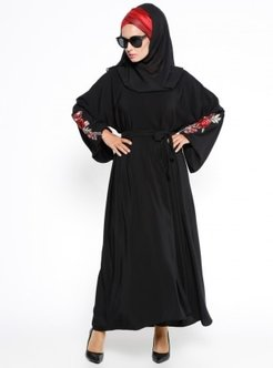 Black - Unlined - Crew neck - Abaya - Ferrace By Arzu Ergen