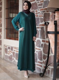 Green - Crew neck - Unlined - Dresses - Amine Hüma