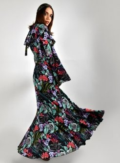 Black - Floral - Crew neck - Fully Lined - Dresses - Aysen Özen