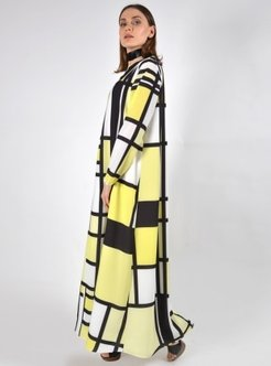 Black - Yellow - Geometric - Crew neck - Fully Lined - Dresses - Aysen Özen