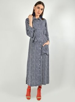Navy Blue - Stripe - Crew neck - Tunic - Aysen Özen