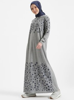 Gray - Point Collar - Unlined - Cotton - Dresses - Benin