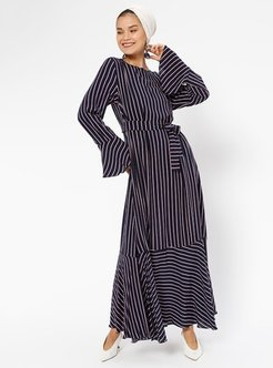 Navy Blue - Stripe - Polo neck - Fully Lined - Dresses - Aysen Özen