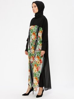Black - Floral - V neck Collar - Tunic - Ferrace By Arzu Ergen