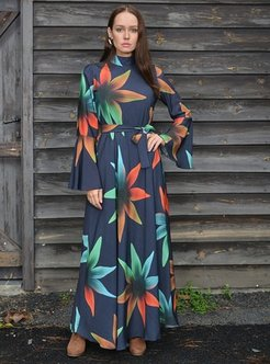 Navy Blue - Floral - Fully Lined - Crepe - Dresses - Aysen Özen