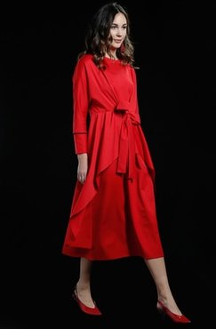 Red - Crew neck - Unlined - Dresses - Al Tatari