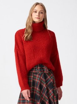 Red - Polo neck - Jumper - Dilvin