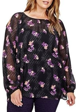Plus Floral Puff Sleeve Blouse