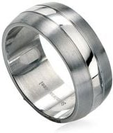 Brushed & Polished Stainless Steel Ring