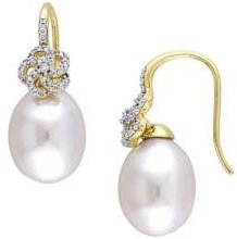 10-10.5MM South Sea Cultured Pearl, 0.25 TCW Diamond and 14k Yellow Gold Floral Drop Earrings