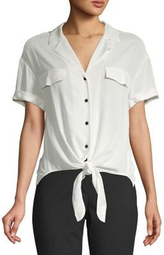 Front Knot Button-Down Shirt