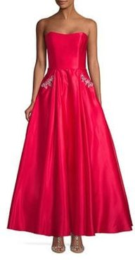 Strapless Satiny Ball Gown