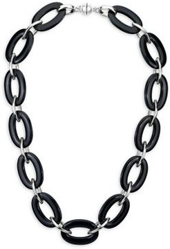 Oval & Marquise Lucite & Sterling Silver Link Necklace