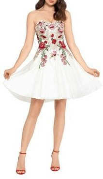 Embroidered Satin Strapless Fit-&-Flare Party Dress