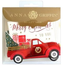 10-Piece Red Vintage Truck 3D Gift Tags