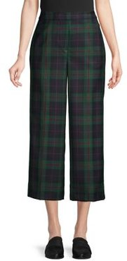 Plaid-Print Wool-Blend Pants