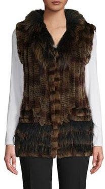 V-Neck Rabbit Fur Vest