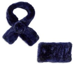 2-Piece Rabbit Fur Headband & Scarf Set