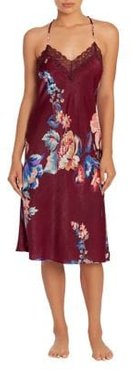 Lenox Shimmer Floral Satin Midi Gown