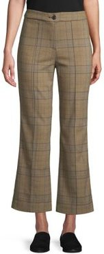 Flared Plaid Ankle Pants