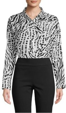 Button Front High-Low Blouse