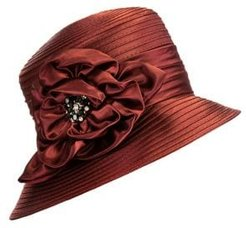 Embellished Satin Ribbon Cloche Hat