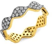 18K Gold & Black Ruthenium-Plated Sterling Silver & 0.87 TCW Pave Diamond Ring