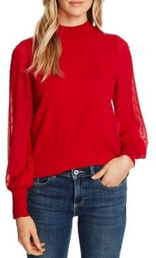 Mesh-Sleeve Turtleneck Cotton-Blend Top