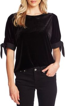 Self-Tie Velvet Top