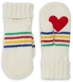 HBC x Color Me Courtney Heart-Patch Knitted Mittens
