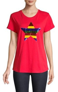 HBC x Color Me Courtney Striped Sequin Star Cotton Tee