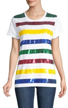 HBC x Color Me Courtney Sequin-Embellished Striped Cotton Tee