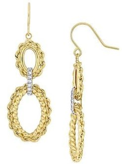 14K Two-Tone Gold Tiered Dangle Earrings