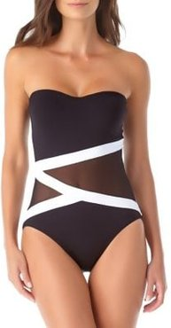 Colorblock Mesh Bandeau One-Piece Swimsuit