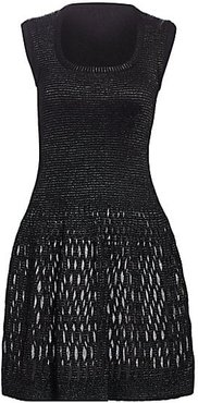 Diaphane Squareneck Dress - Noir - Size 40 (8)
