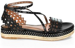 Laser Cut Leather Platform Espadrille Sandals - Black - Size 38 (8)